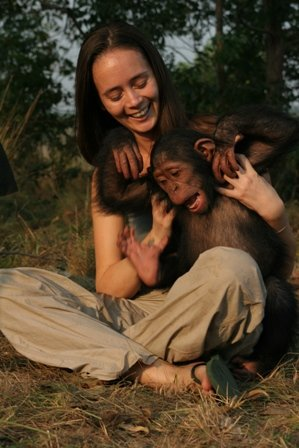 Bonobo monkey and friend